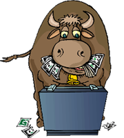 Bull Eating Money