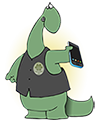 dino with a smartphone